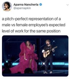 We talked about this in class a while back; Beyoncé is known for her big gorgeous outfits and Ed Sheeran is known to be a laid back very casual dressing man. There was no inequality here they simply didnt choose to coordinate their outfits! Lgbt, Intersectional Feminism, Equal Rights, Patriarchy, Faith In Humanity, Social Issues, Human Rights, Social Justice, In This World