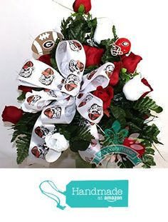 Georgia Bulldog Fan White and Red Roses 3 inch Vase Flower Arrangement from Crazyboutdeco Deco Mesh Wreaths and Cemetery Arrangements https://www.amazon.com/dp/B01D0OFHA0/ref=hnd_sw_r_pi_dp_xIeExbR381A45 #handmadeatamazon