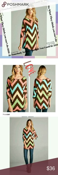 🎀HP🎀 CHEVRON PRINT TOP Brown and coral chevron print top gorgeous top very versatile wear with jeans,skirt or dress pants elbow dolman sleeve round neck 95polyester 5spandex  1small 1med 1large  ??HOST PICK ?? BACK TO BASICS 10/12/16 BY Ramona Fashionomics Tops