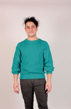 Hip 80's Men's Turquoise Pullover Knit Sweater By Pilgrim/Size Large/ Unisex/Hipster by VertigoChicago on Etsy