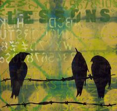 printmaking without a press with Linda Germain: mixed media printmaking  - my phase with the birds