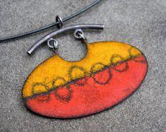 Enamel Pendant Enamel Sgraffito Necklace Enamel by lsueszabo