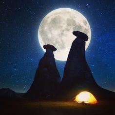 Amazing night #Cappadocia #Turkey // Photo by Burak Yıldırım  (@byburax)