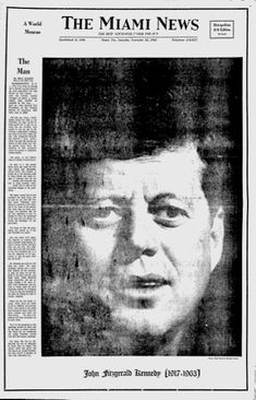 Front Page From 1963 Covering The Day President Kennedy Was Assassinated