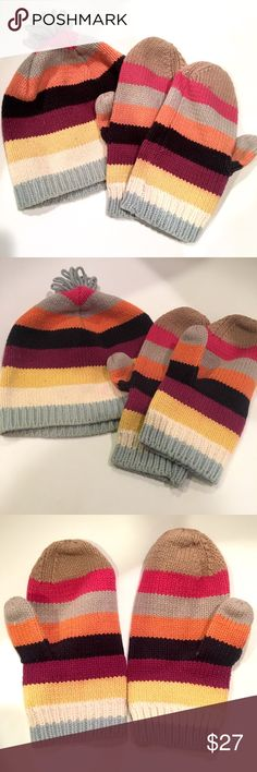 Hat and glove/mitten set Gap hat and mitten set. Hat is size small. Can fit Junior size or woman size. Small light mark on hat shown in pictures. Might be able to come out GAP Accessories Hats