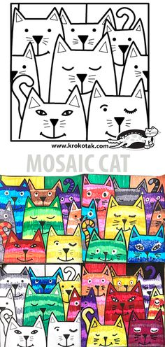 MOSAIC CAT Primary School Art, Middle School Art, Art School, Art Activities For Kids, Creative Activities, Art For Kids, Collaborative Art Projects For Kids, Kindergarten Art Projects, Collage Kunst