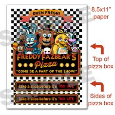 PRINTABLE Five Night's At Freddy's PIZZA BOX  by PogoParties