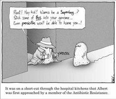 The rise of antibiotic resistance Biology Humor, Chemistry Jokes, Grammar Humor, Math Humor, Science Cartoons, Science Memes, Funny Science, Foreign Language Teaching, Teaching Biology