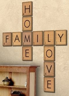 Square pieces of foam with letter and numbered like Scrabble pieces.. Paint them with stencils!
