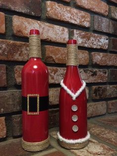 Mr. and Mrs. Claus set wine bottle vases by 2BoredMoms14 on Etsy