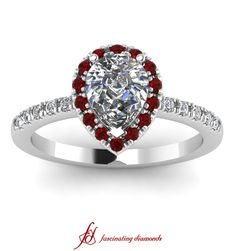 Twin Drop Ring || Pear Shaped Diamond Halo Ring With Red Ruby In 14k White Gold