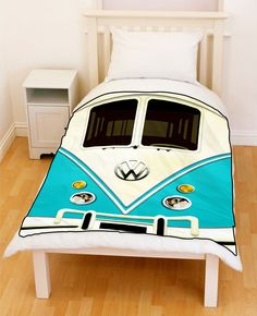 BLUE VW Volkswagen Mini Vans Mini Bus Throw Fleece Blanket #Unbranded