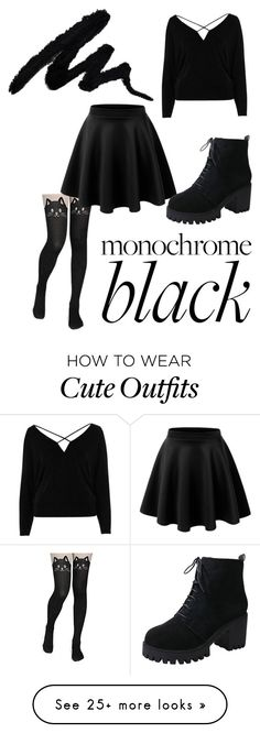 """Monochrome"" by amery4264 on Polyvore featuring LE3NO, River Island and allblackoutfit"