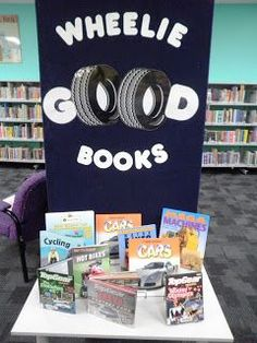 The Wheelie big books display has been a real hit- the kids love a pun & the simplicity of the display means its easy to make - the wheel picture is from clip art. - Bree at Fremantle City Library (Western Australia) School Library Displays, Library Themes, Library Activities, Library Ideas, Library Decorations, Library Events, Library Design, Classroom Displays, Stem Activities
