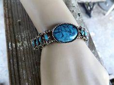 Pot Metal Faux Turquoise Glass Stone Bracelet