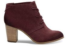 Oxblood Burnished Suede Women's Lunata Lace-Up Booties // TOMS