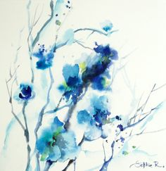 Blue Flowers Original Watercolor Painting Watercolour by CanotStop