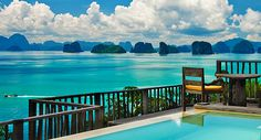 """Der Urlaubstraum schlechthin: Blick vom Six Senses Resort auf die vorgelagerten Kalkstein-Inseln der """"Phang Nga Bay"""". Foto: Six Senses http://www.thaizeit.de/thailand-themen/news/artikel/bildergalerie-andaman-sea-phang-nga-koh-yao-noi.html"""