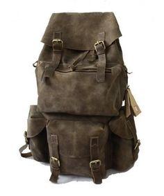 Men's Large Handmade Superior Crazy Horse Leather Backpack Travel Bag
