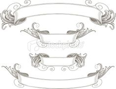 Banner Victorian Style Scroll Shape Ribbon stock illustrations ...