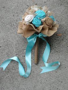 Burlap Wedding Bouquet Burlap Bridal Bouquet #blue #burlap #wedding #bride