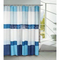 Blue Block Polyester Shower Curtain - DKK kr61