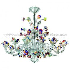 Cristallo 12 lights Murano chandelier with crest