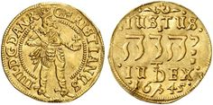 Jehovah in Hebrew. King Christian IV of Denmark and Norway. Gold coin in the year 1645