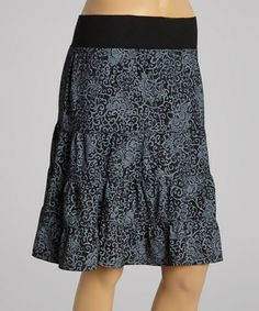 Another great find on #zulily! Black Batik Flower Tiered Skirt by Fresh Produce #zulilyfinds