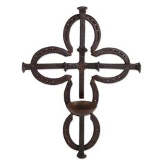 Sign of the Cross Metal Art Upcycled Railroad Spikes and Horseshoe Wall Décor