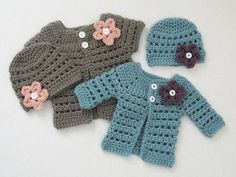 Mini Miss Cardigan and Beanie (preemie to 6 months)