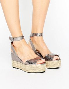 Buy Head Over Heels By Dune Kalmia Espadrille Flatform Sandals at ASOS. With free delivery and return options (Ts&Cs apply), online shopping has never been so easy. Get the latest trends with ASOS now. Ankle Tie Espadrilles, Ankle Wrap Sandals, Espadrille Sandals, Strap Sandals, Ankle Strap, Silver High Heel Shoes, Metallic Sandals, Types Of Sandals, Peep Toe