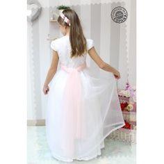 Vestidos de Comunión - Golositos Ropa Infantil Communion Dresses, White Dress, Fashion, Lace Bodice, White Lace, Plunging Neckline, White Gowns, Japanese Sleeve, Skirts