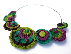 Multicoloured cotton yarn crocheted necklace by GiadaCortellini, €40.00