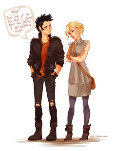 Anonymous asked: Is it possible to have you draw girly!Annabeth and punk!Percy? viria: OH MAN GOTTA LOVE THIS AU YESSSSSS