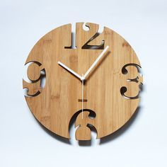 Unique Wall Clocks | Unique Bamboo Wall Clock Numeric Cutter by HOMELOO on Etsy