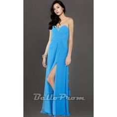 Blue Sexy Beaded Strapless Evening Gown A4146  Price: $149.00  Buy now enjoy -10% Discount at BelloProm.com.