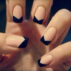 Elegant nails with a twist. Bow tie tips make for easy black tie polish or cute Sunday style