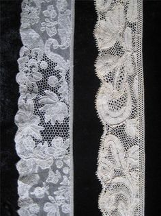 right may be older Right is repurposed. Note cut motifs on right side adjacent to engrelure. Antique Lace, Vintage Lace, Vintage Style, Vintage Fashion, Types Of Lace, Lacemaking, Linens And Lace, Lace Ribbon, Bobbin Lace
