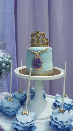Ruffle ombre cake pops at a Sofia the First birthday party! See more party ideas at CatchMyParty.com!