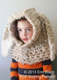 DIY Crochet PATTERN Chunky Crochet Bunny Hood in by Midknits
