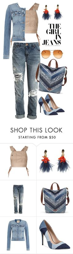 """""""All Denim Style: Girl in Jeans"""" by tina-kene ❤ liked on Polyvore featuring G.V.G.V., Lizzie Fortunato, Sans Souci, Sakroots, Paige Denim, ALDO and Chloé"""