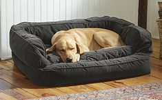 This handsome dog bed with bolster provides supreme comfort.
