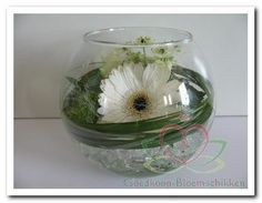 Vase arrangement with a small bouquet of Gerbera, Ornithogalum, Setaria and a white green rose - Place in Cristal Ice and put some Bears grass around it