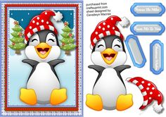 Lovely A5 Happy Penguin  by Ceredwyn Macrae A lovely A5 card front with a cute Happy penguin has decoupge and three greeting tags and a blank one