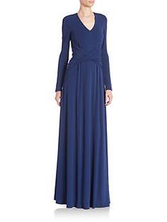 St. John - Draped Long Sleeve Dress