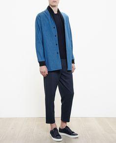 29bd58ac707 Stephan Schneider Denim Jacket With Scarf Collar in Blue for Men