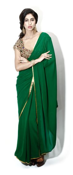 Green gota border sari by Seema Khan. #sari #shopnow #seemakhan #happyshopping