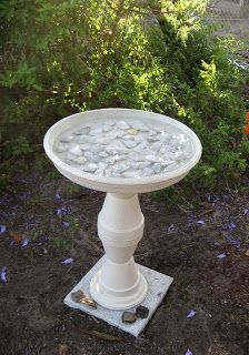 hide&moore Update Belt Chair & Terra Cotta Bird Bath is part of Terra cotta bird bath - Garden Yard Ideas, Garden Crafts, Garden Art, Bird Bath Garden, Diy Bird Bath, Homemade Bird Baths, Clay Pot Projects, Clay Pot Crafts, Shell Crafts