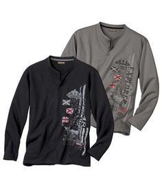 Lot De 2 Tee-Shirts Col Grand Père Confort